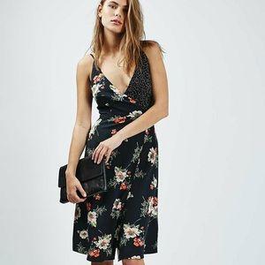 Topshop Navy Floral Crossback Wrap Midi Dress 6